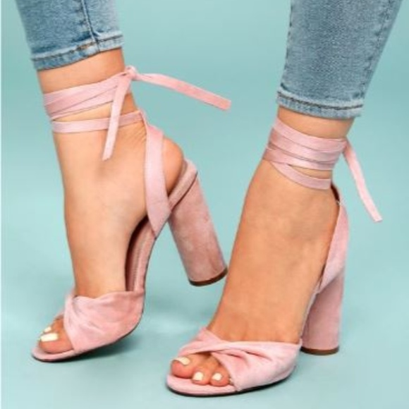 390a2244e39c RUMER BLUSH SUEDE LACE-UP HEELS